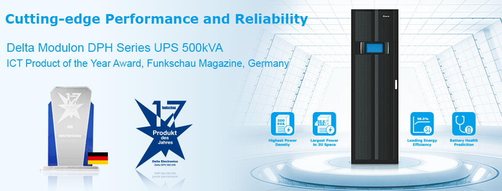 Delta Modulon DPH Series 500VA  UPS  - ICT Product of the Year Award from Funkschau Magazine, Germany