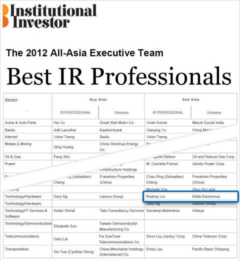 "Mr. Rodney Liu, Delta's IR manager, has been awarded the ""Best IR Professional"" of the 2012 All-Asia Executive Team ranking from Institutional Investor magazine."