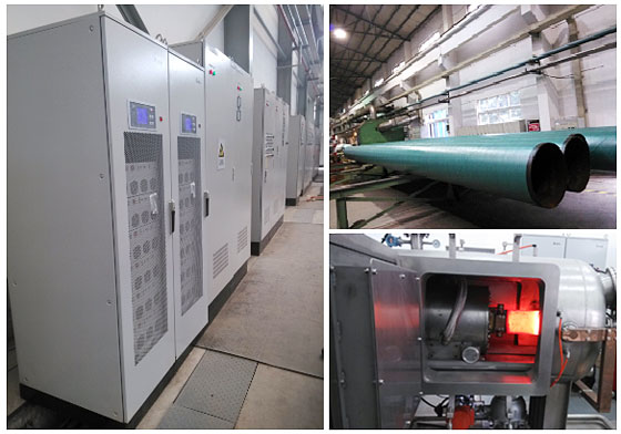 Heat treating equipment, resistance furnace, Delta APF, and pipe treatment pictures taken on-site.