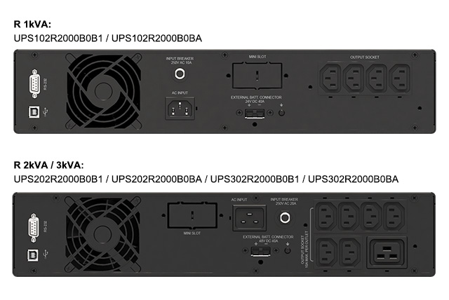 Amplon R 1/2/3 kVA UPS rear views for South Korea