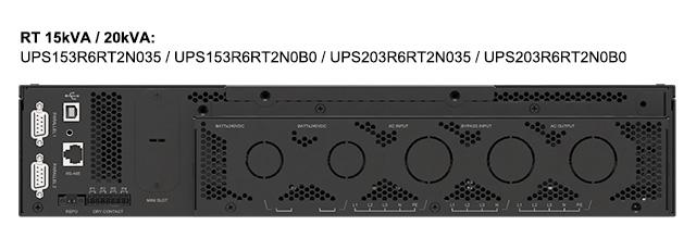 Amplon RT 15/20 kVA UPS rear view