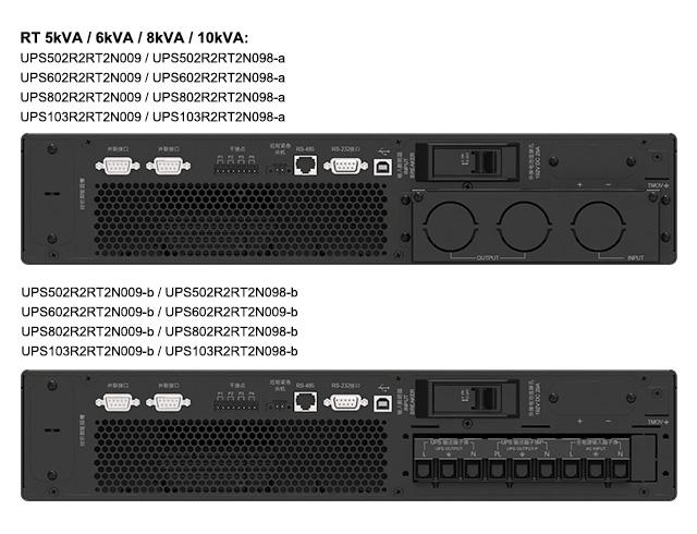 Amplon RT 5/6/8/10 kVA UPS rear views for China