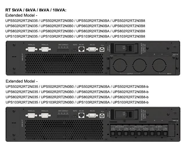 Amplon RT 5/6/8/10 kVA extended model UPS rear views for all regions