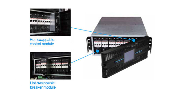 Rack-Mount Power Distribution Cabinet - Hot-swappable control and breaker module