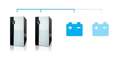 Использование конфигурации с общей аккумуляторной батареей в параллельном режиме позволяет владельцу ИБП Ultron DPS