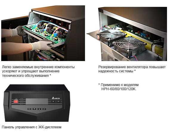 Легко заменяемые внутренние компоненты ускоряют и упрощают выполнение технического обслуживания